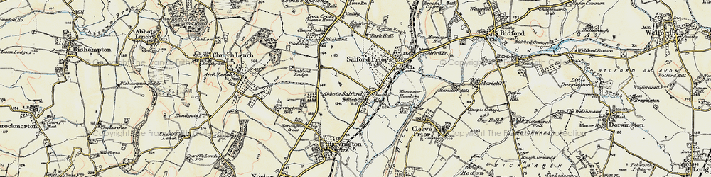Old map of Abbot's Salford in 1899-1901