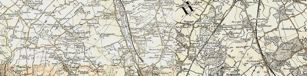 Old map of Abbots Langley in 1897-1898