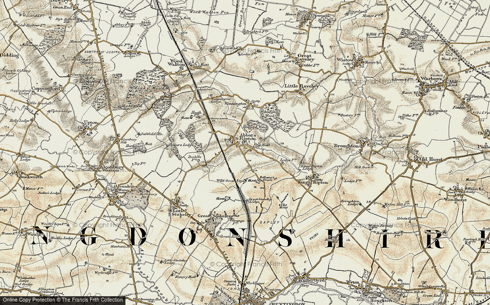Old Map of Abbots Ripton, 1901 in 1901