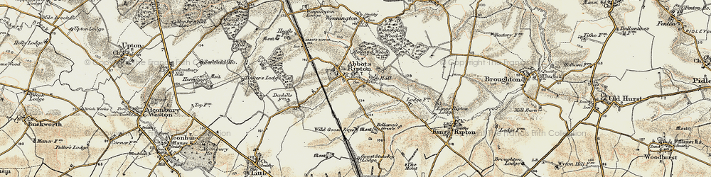 Old map of Abbots Ripton in 1901