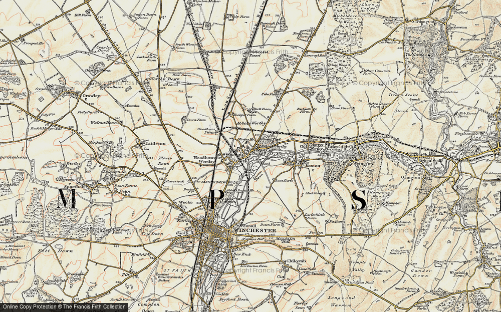 Old Map of Abbots Worthy, 1897-1900 in 1897-1900