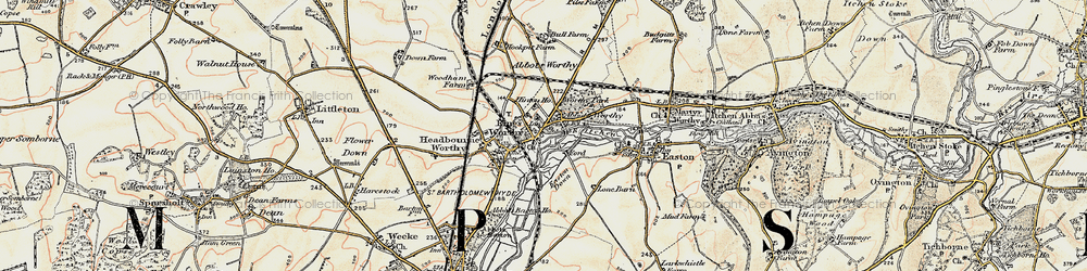 Old map of Abbots Worthy in 1897-1900