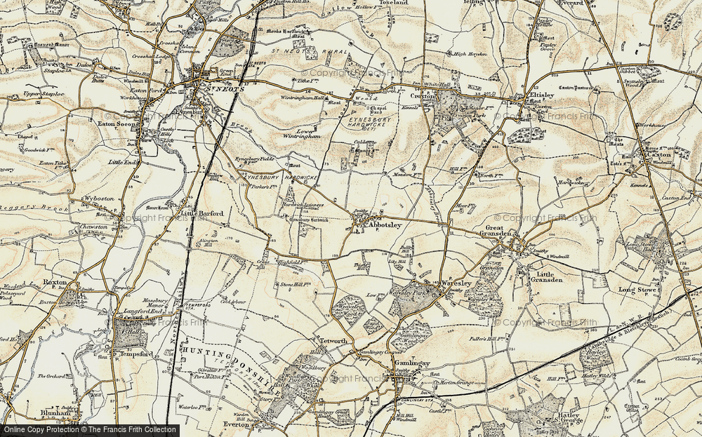 Old Map of Abbotsley, 1898-1901 in 1898-1901