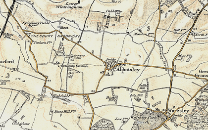 Old map of Abbotsley in 1898-1901