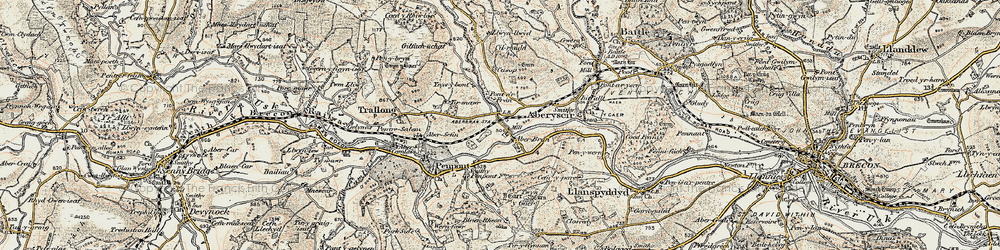 Old map of Aberbran in 1900-1901