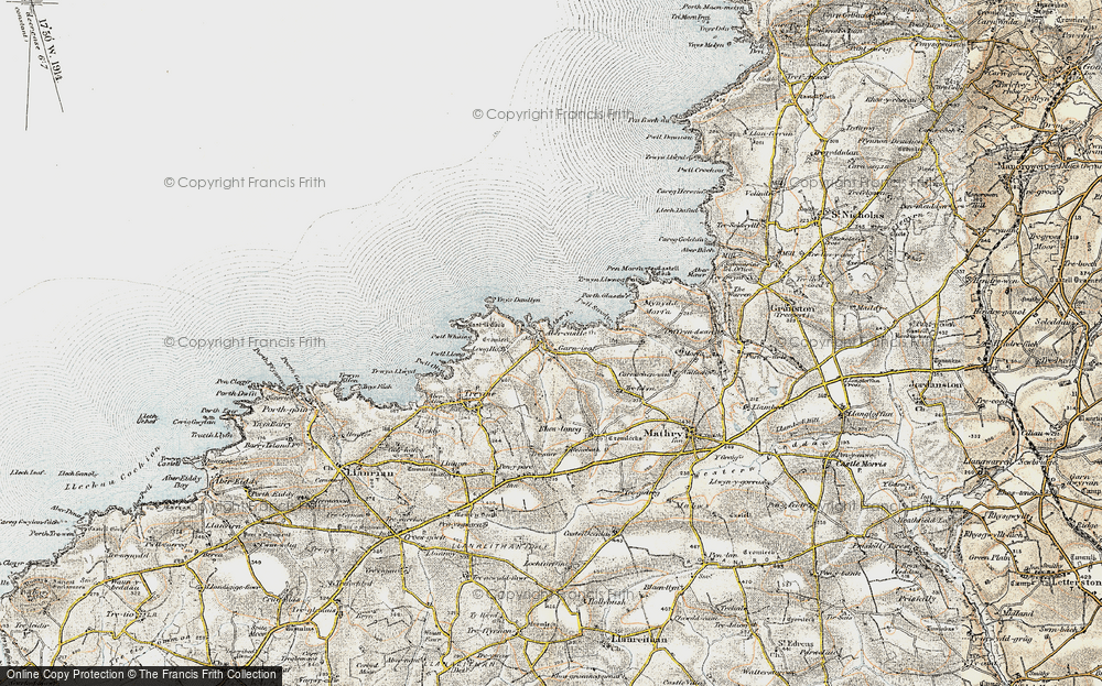 Old Map of Historic Map covering Aber Yw in 0-1912