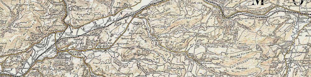 Old map of Abercegir in 1902-1903