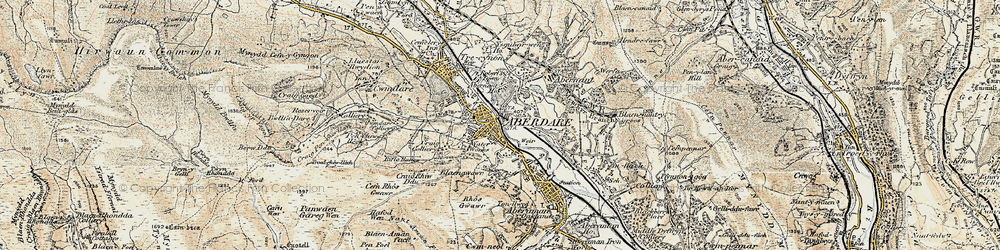 Old map of Aberdare in 1899-1900