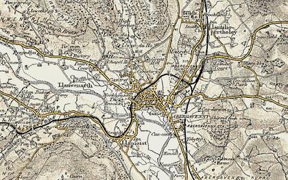 Old map of Abergavenny/Y Fenni in 1899-1900