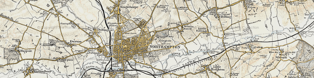 Old map of Abington in 1898-1901