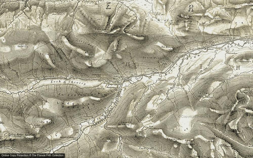 Old Map of Achnasheen/Achadh na Sine, 1908-1912 in 1908-1912