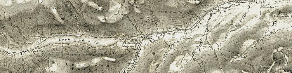 Old map of Achnasheen/Achadh na Sine in 1908-1912