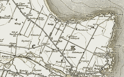 Old map of Ackergill Tower in 1912