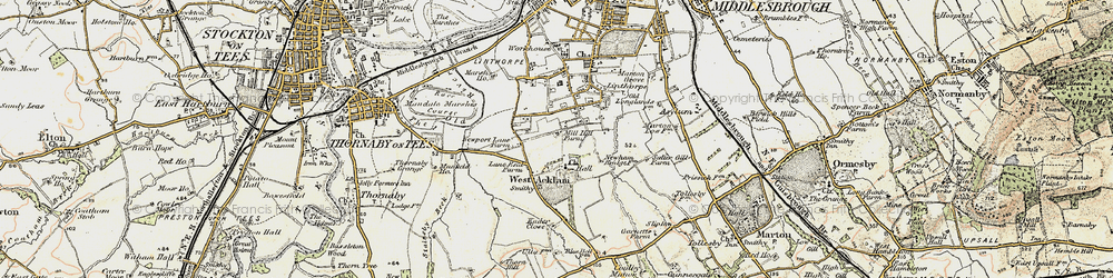 Old map of Acklam in 1903-1904