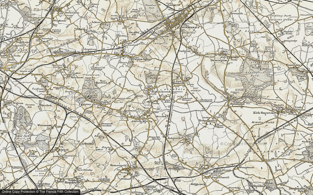 Old Map of Historic Map covering Ackworth School in 1903