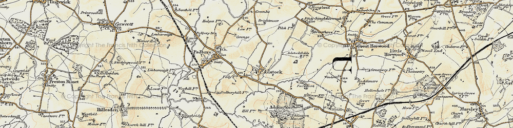 Old map of Adstock in 1898