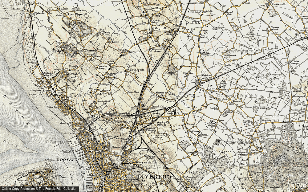 Old Map of Historic Map covering Aintree Sta in 1902-1903