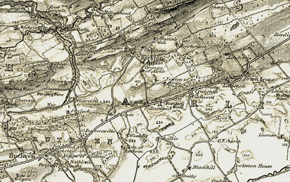 Old map of Westhill in 1907-1908