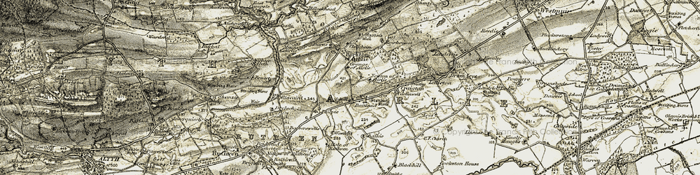 Old map of Airlie in 1907-1908