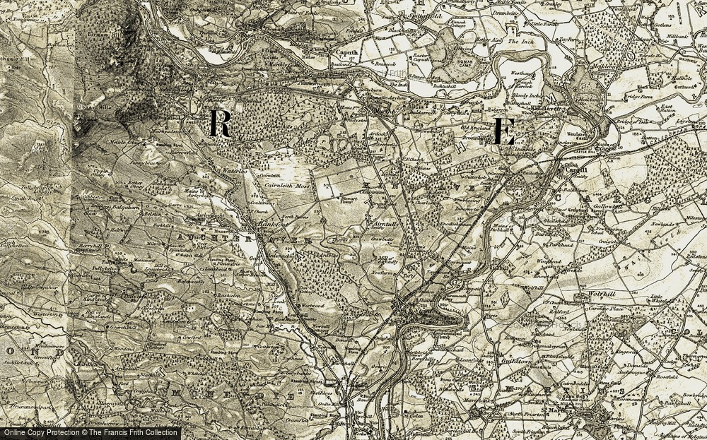 Old Map of Airntully, 1907-1908 in 1907-1908