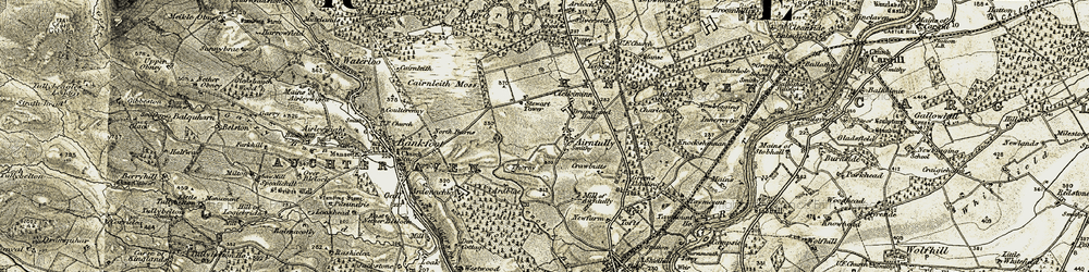 Old map of Airntully in 1907-1908