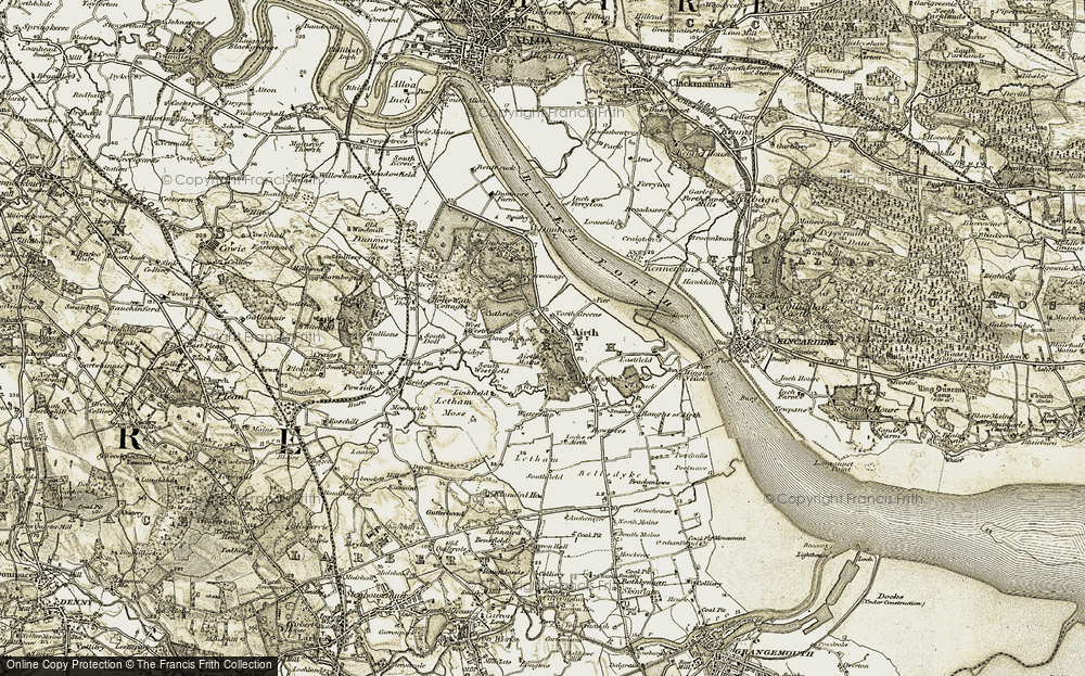 Old Map of Historic Map covering Airth Mains in 1904-1906