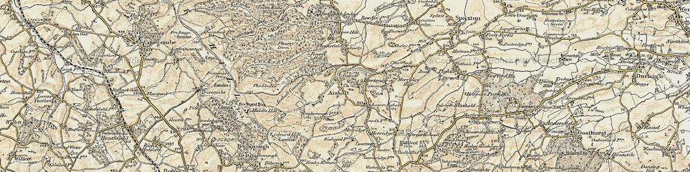 Old map of Aisholt in 1898-1900