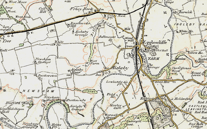 Old map of Aislaby Grange in 1903-1904