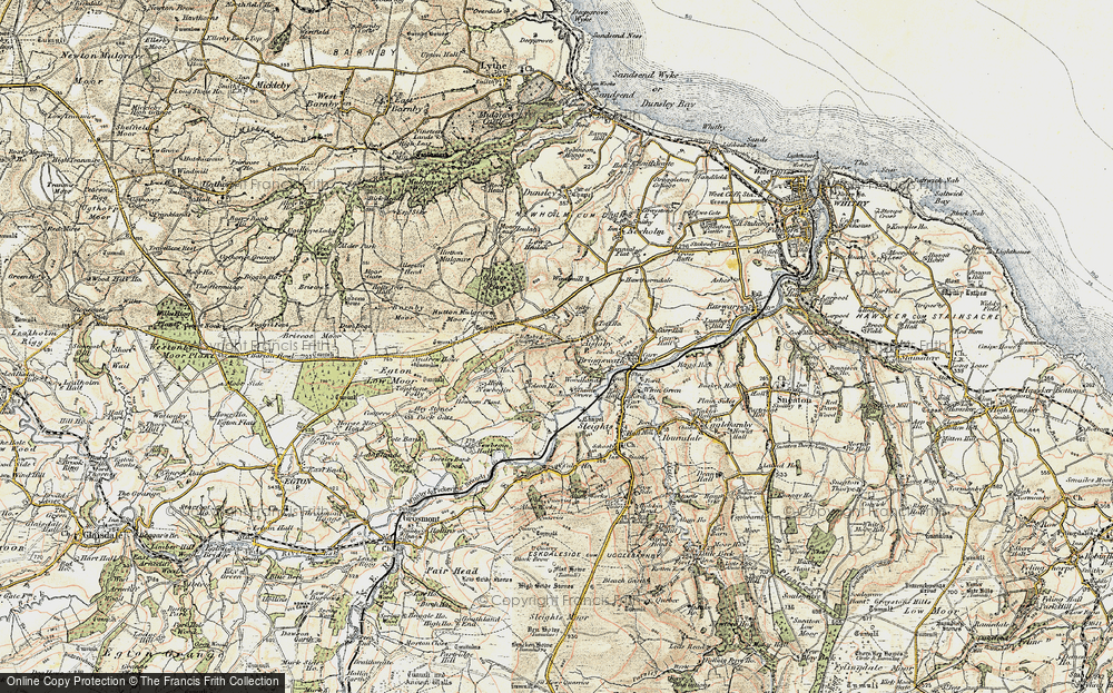 Old Map of Historic Map covering Aislaby Moor in 1903-1904