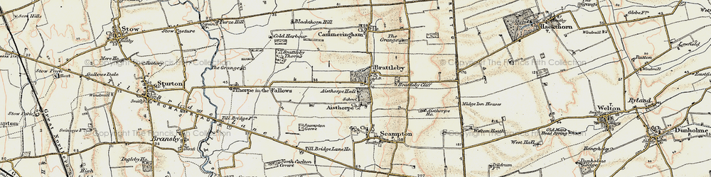 Old map of Aisthorpe Hall in 1902-1903