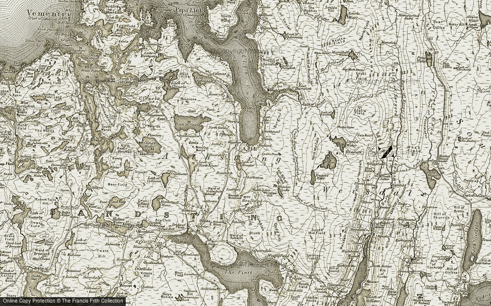 Old Map of Historic Map covering Aithsting in 1911-1912
