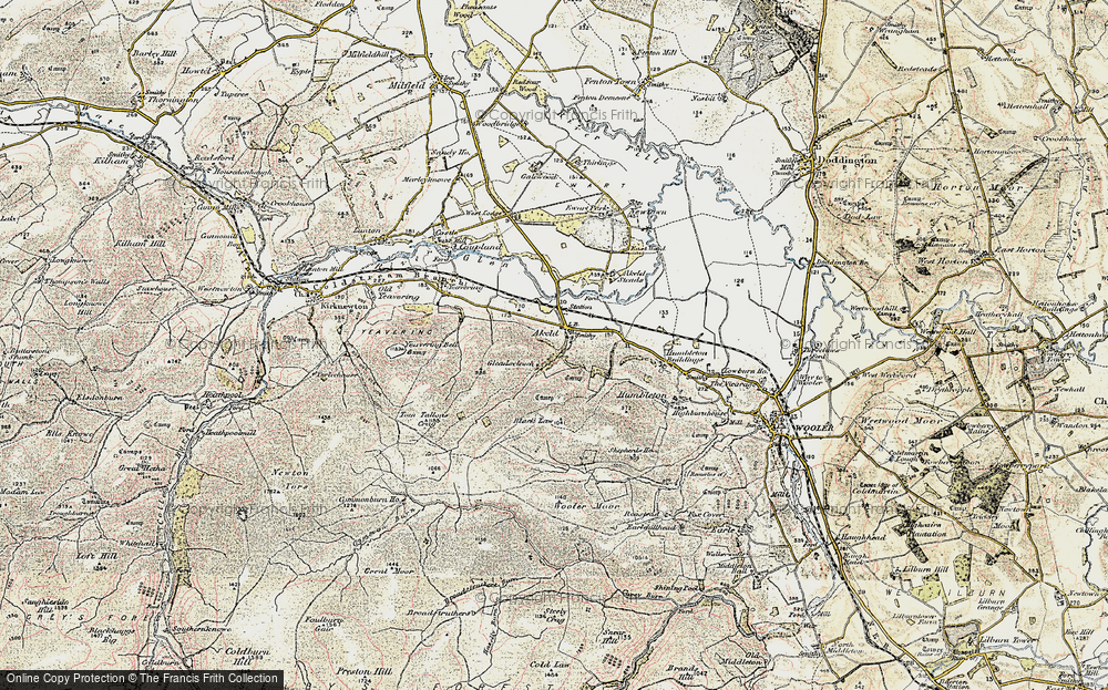 Old Map of Historic Map covering Akeld Steads in 1901-1903