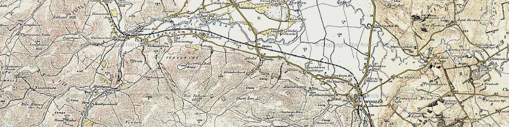 Old map of Tom Tallon's Crag in 1901-1903