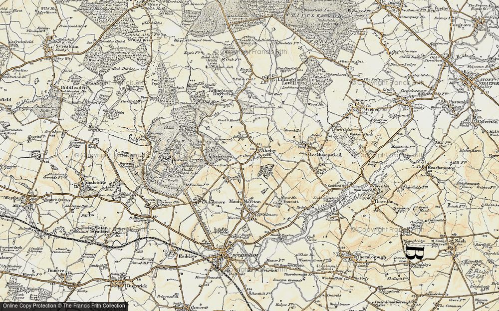Old Map of Historic Map covering Akeley Wood School in 1898-1901