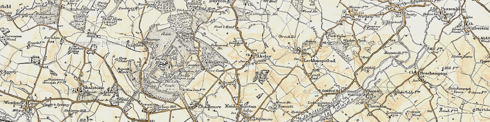 Old map of Akeley in 1898-1901