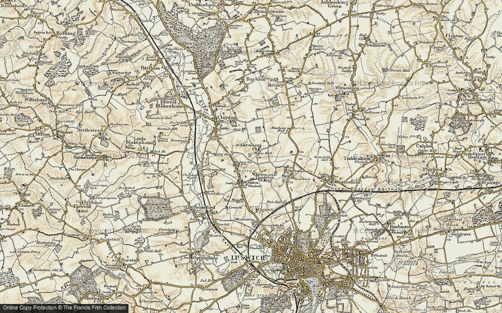 Old Map of Akenham, 1898-1901 in 1898-1901