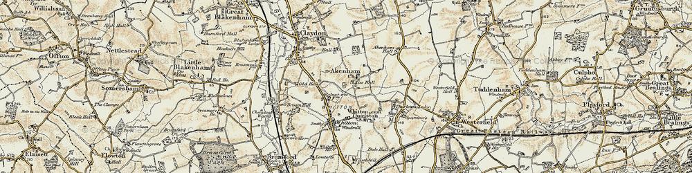 Old map of Akenham Hall in 1898-1901