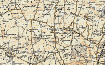 Old map of Albourne Green in 1898