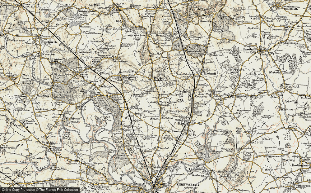 Old Map of Albrighton, 1902 in 1902