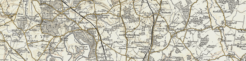 Old map of Albrighton in 1902