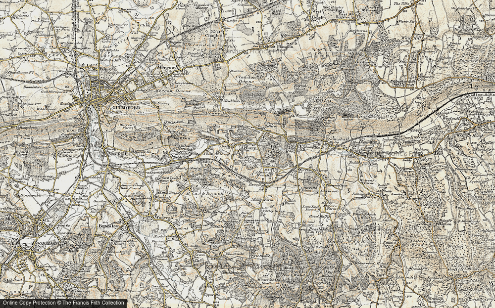 Old Map of Historic Map covering Albury Park in 1898-1909