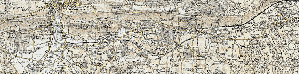 Old map of Albury Park in 1898-1909