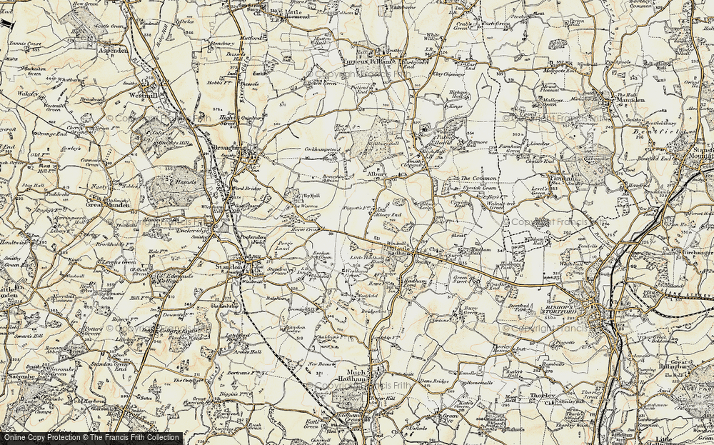 Old Map of Albury End, 1898-1899 in 1898-1899