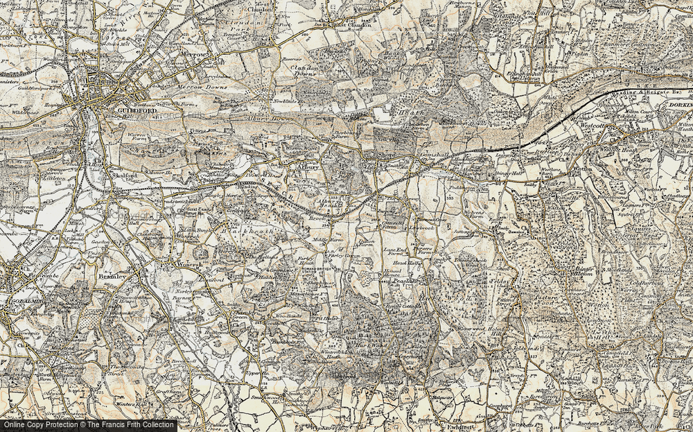 Old Map of Albury Heath, 1898-1909 in 1898-1909
