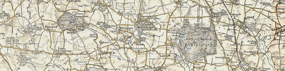 Old map of Alby Hill in 1901-1902
