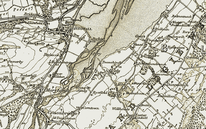 Old map of Alcaig in 1911-1912