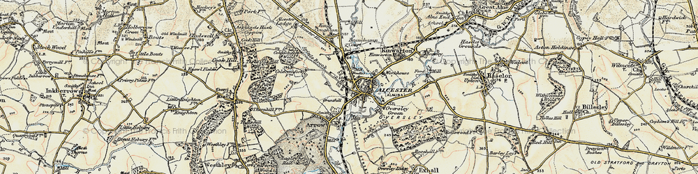 Old map of Alcester in 1899-1902