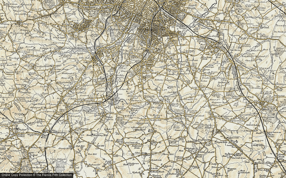 Old Map of Alcester Lane's End, 1901-1902 in 1901-1902