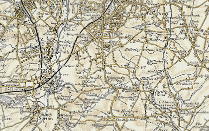 Old map of Alcester Lane's End in 1901-1902