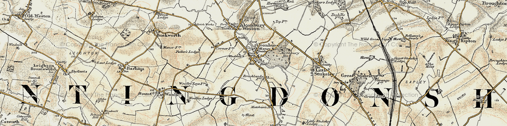 Old map of Alconbury in 1901